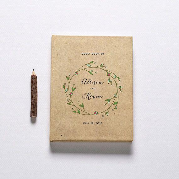 Wedding Guest Book Rustic Wreath by CraftyPiePress on Etsy, $49.00