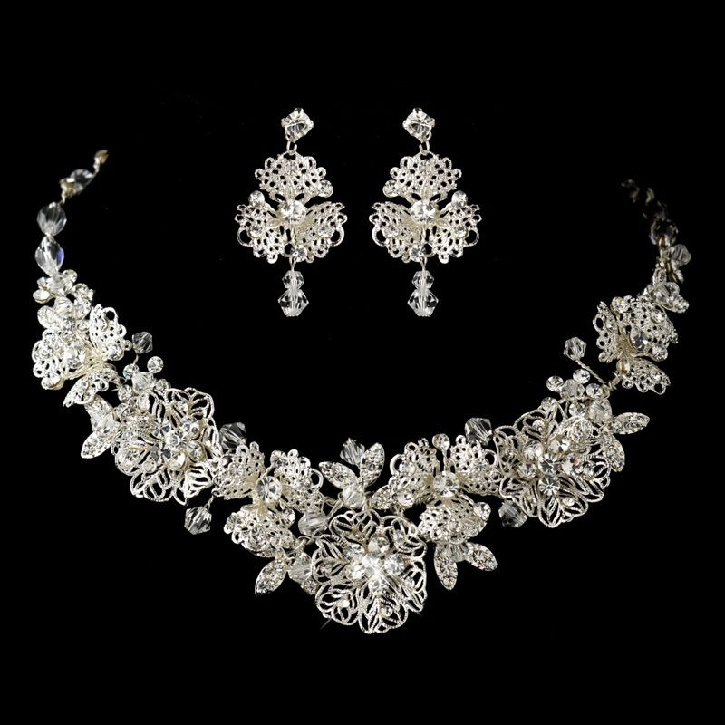 Silver Clear Rhinestone Necklace & Earrings Floral Leaf Jewelry Set