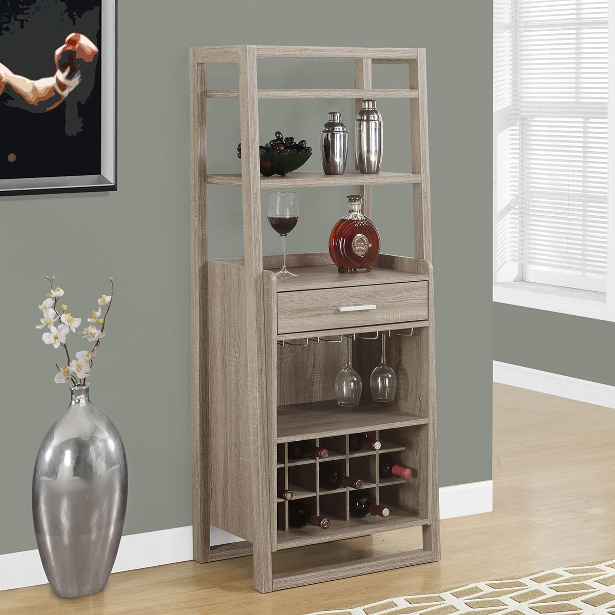 Take A Look At This Dark Taupe Ladder Home Bar Cabinet Today!
