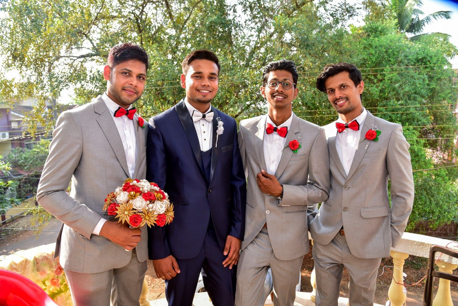 845800e8a2f5 Groom and bestmen Blue and Grey Suits. Ideas for Red Themed wedding ...
