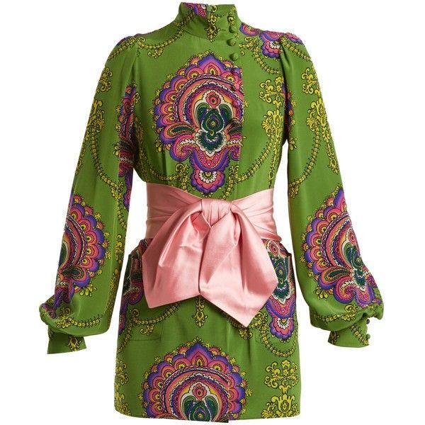 Gucci Treasure-print silk crepe de Chine top (€1.585) ❤ liked on ... 75a7730ed4a