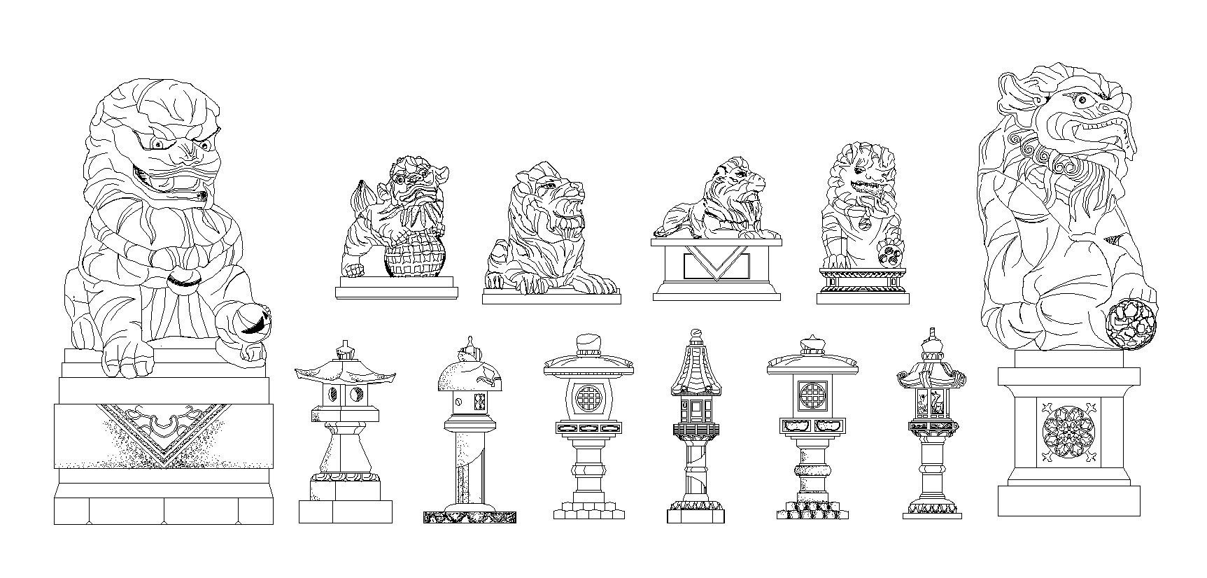 Stone Elevation Drawing : Free chinese statue and stone lamp cad design