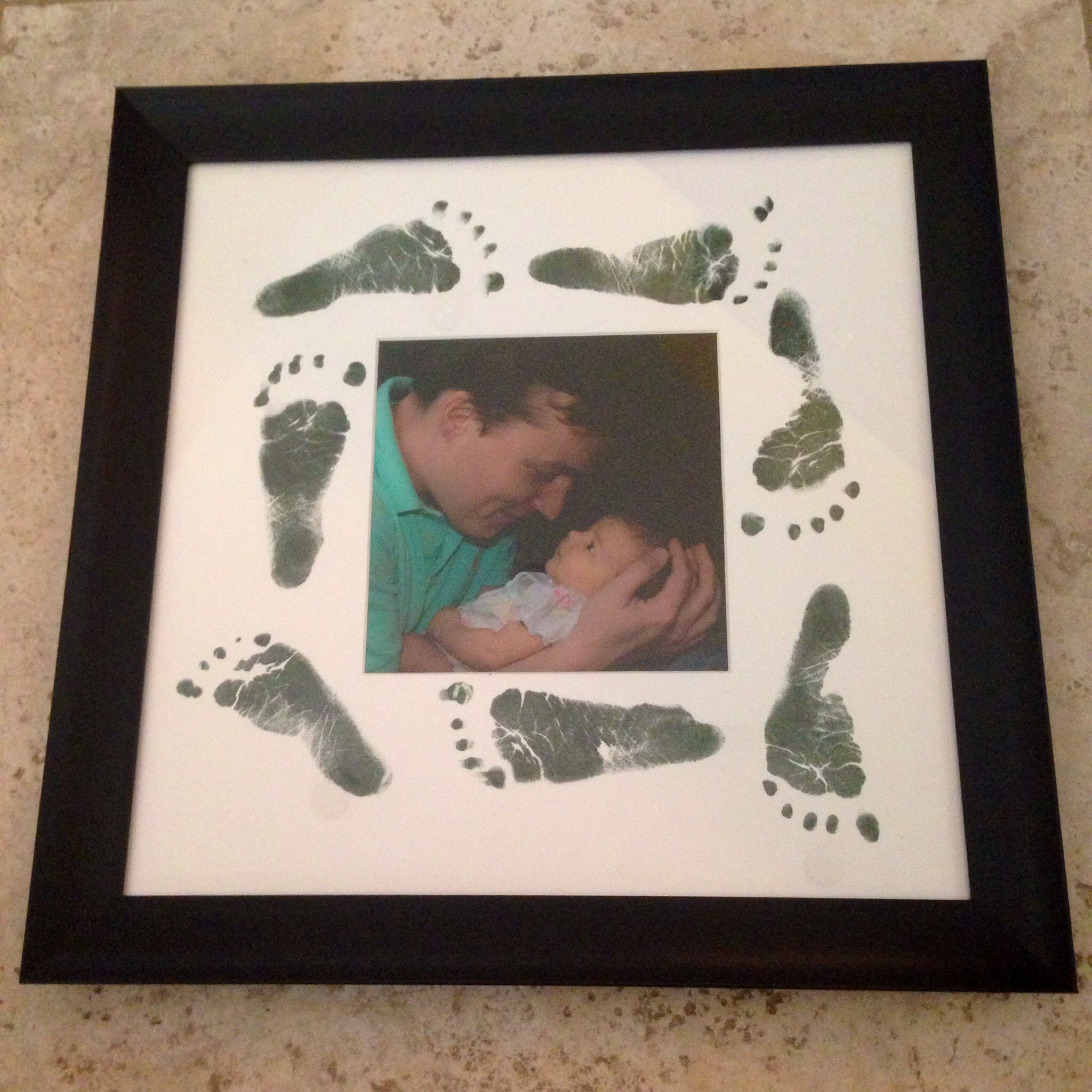 Craft Footprint Art On Matted Frame From Baby First Fathers