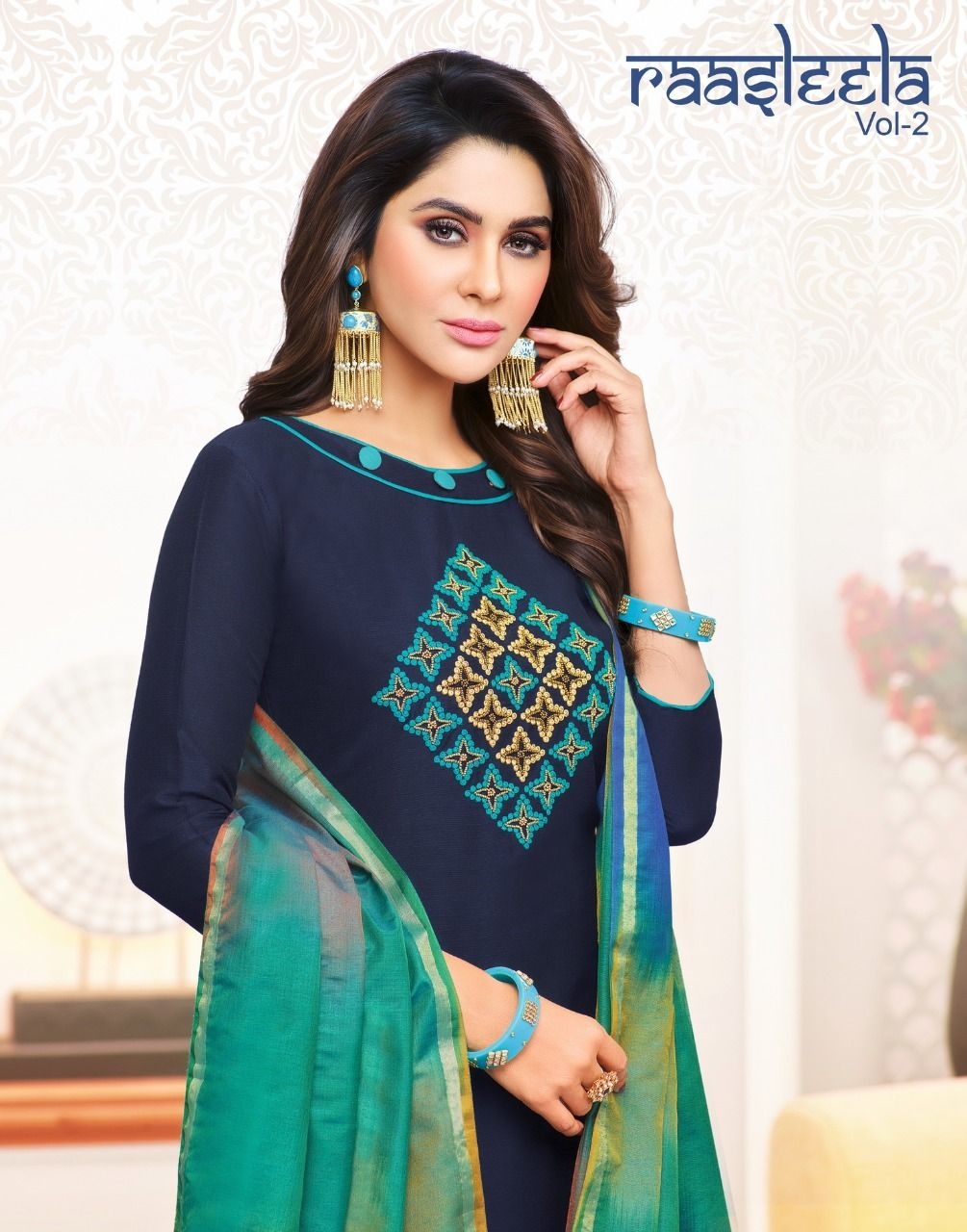 293521ca0e Rasleela Vol 2 by Kaycee Kasmeera Designer Printed Cotton Slub with  Embroidery Work Dress Material Collection at Wholesale Rate
