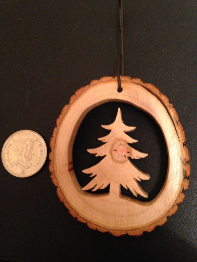 HAND CRAFTED - WOOD SLICE - TREE CHRISTMAS TREE DECORATION -C/W - S-HOOK #weihnachtenholz