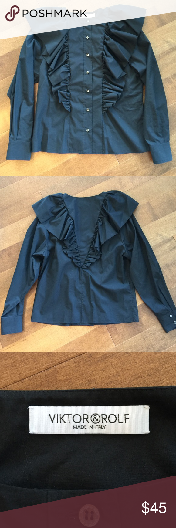 VIKTOR & ROLF Blouse Viktor & Rolf long sleeve blouse in black. 100% cotton. Ruffles details in front and back. Made in Italy. Size 40 US 6 Viktor & Rolf Tops Blouses