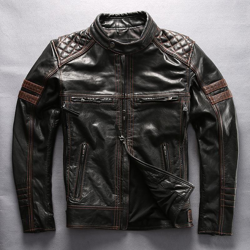 Retro Vintage Motorcycle Jacket Brown Leather Motorbike Jacket Motorcycle Jacket Mens Harley Leather Jackets Leather Jacket Men