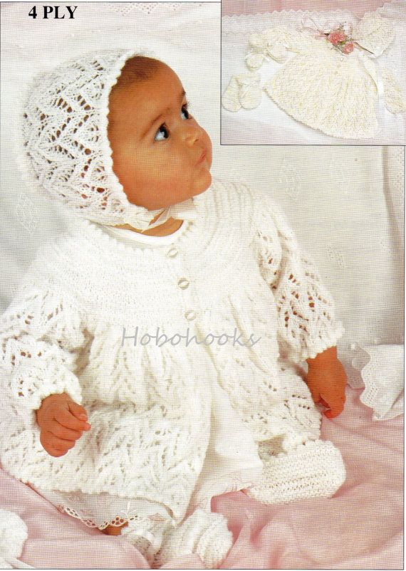 Baby knitting pattern baby set baby lacy matinee coat by Minihobo ...