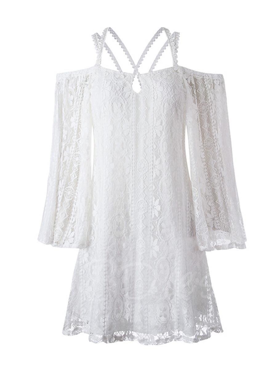 Lace dress nightwear  xmas Christmas TBDress  TBDress White Strappy Backless Womens
