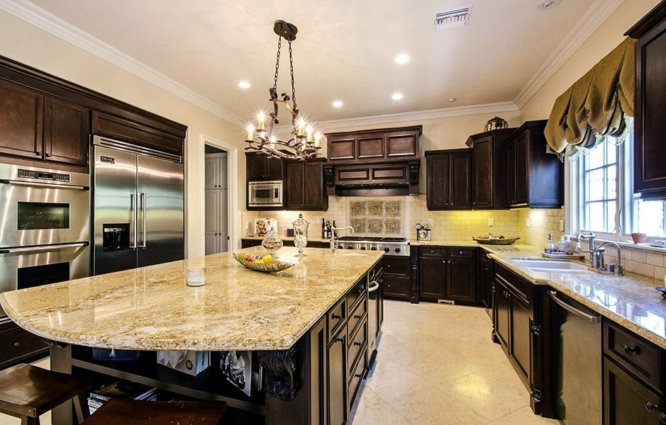 dream kitchen dark wood and marble favorite places spaces pin