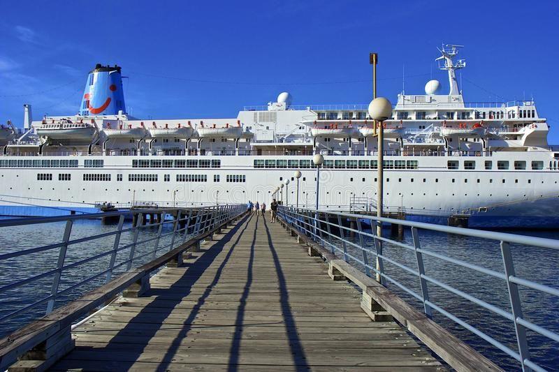 Cruise ship in Roseau, Dominica. Cruise ship docked in