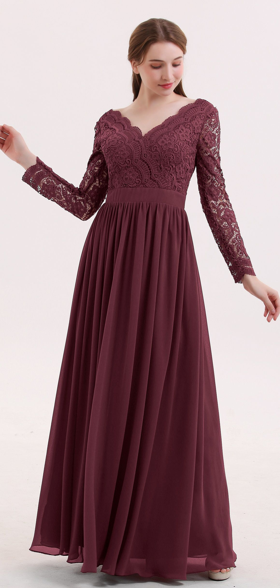 96ff2db0592 BABARONI Long sleeves bridesmaid dresses in cabernet color