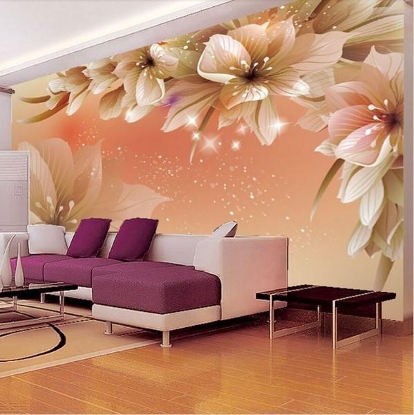 3d Modern Custom Floral Wallpaper Orange Photo Wall Mural Wallpaper Living Room 3d Wallpaper For Walls Living Room Decor Flower bedroom wallpaper images