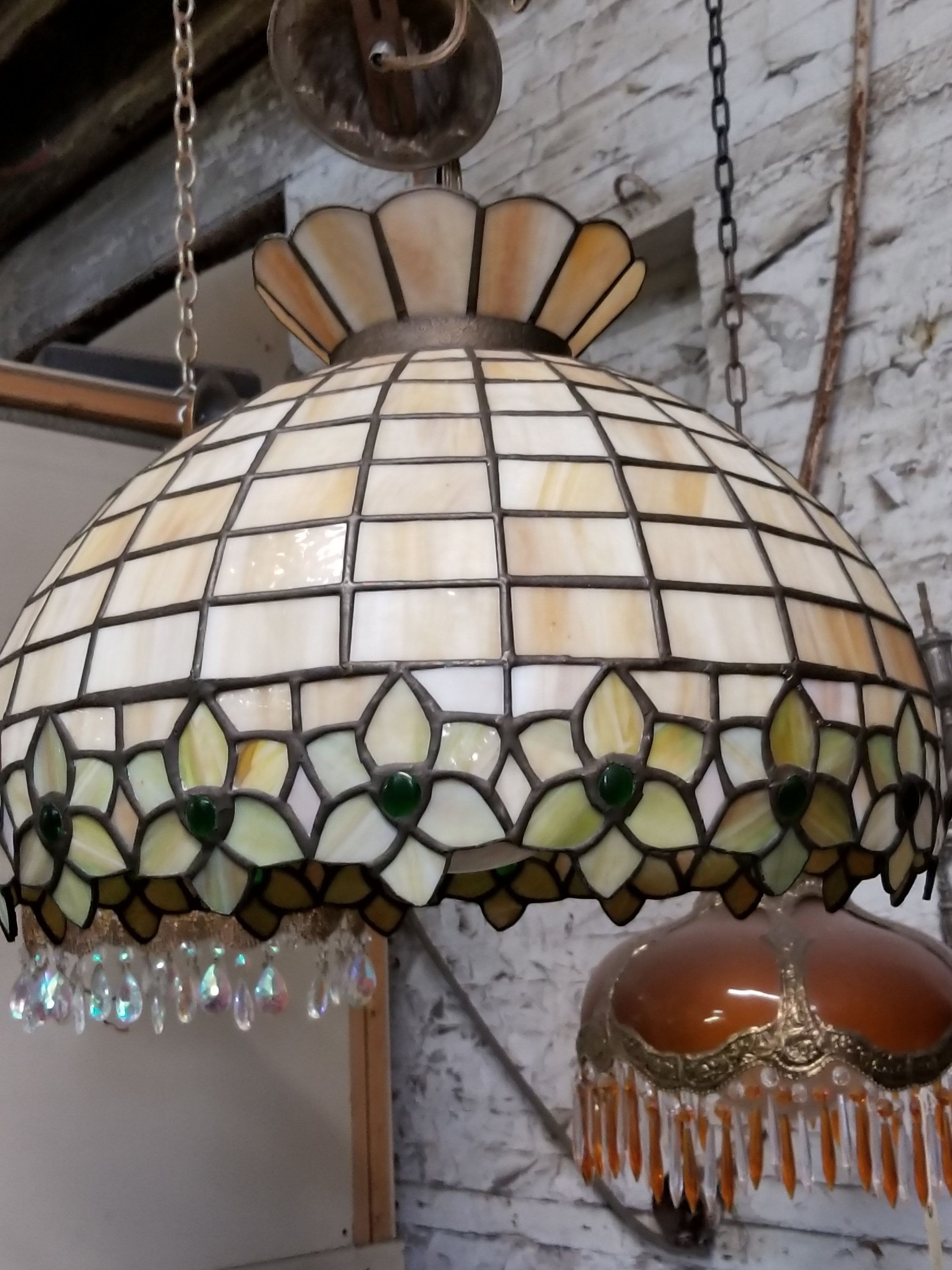 Vintage Stained Glass Lamp Tiffany Style Hanging Lamp Tiffany