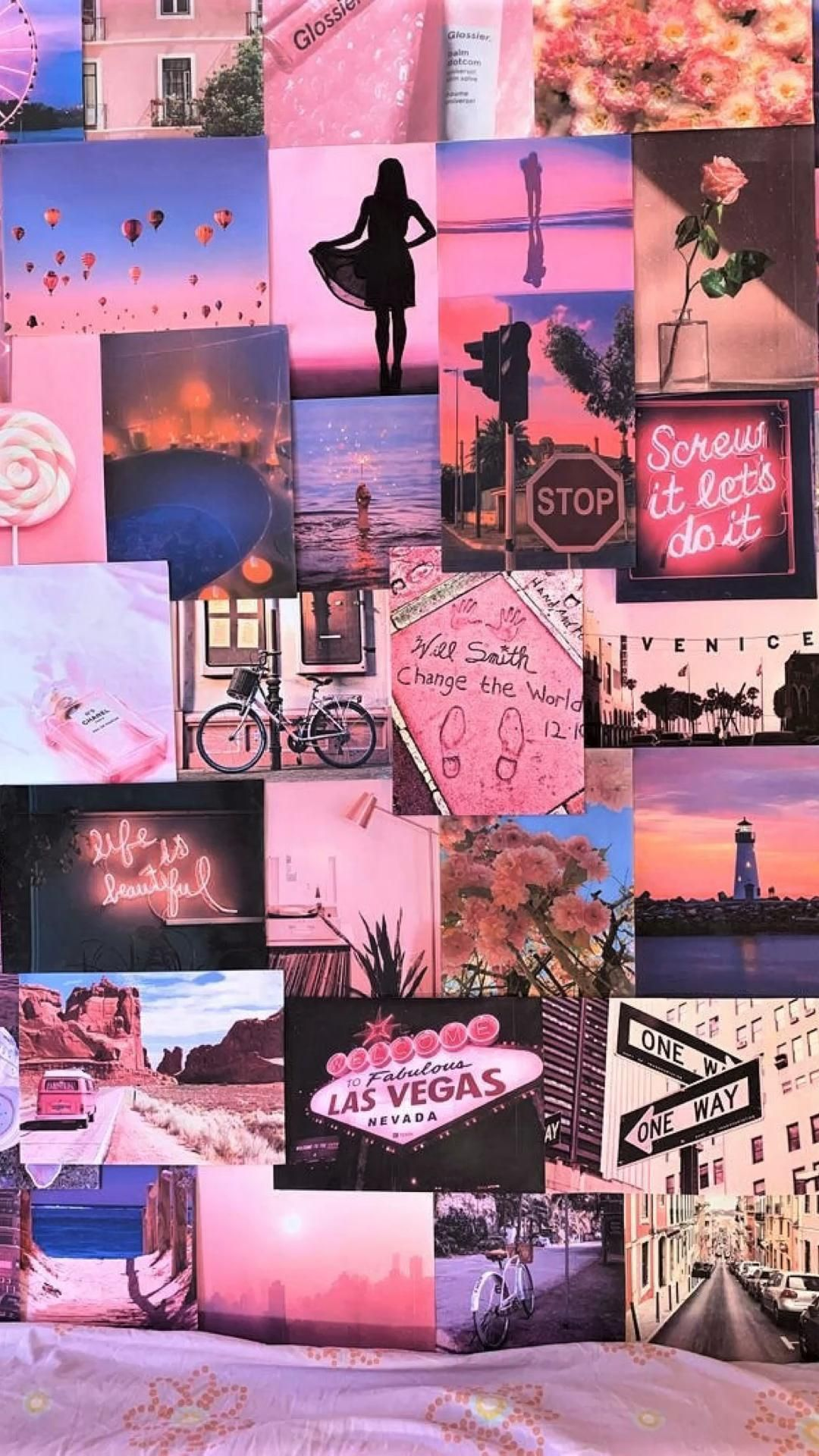 Pink Aesthetic Pretty Retro Wall Collage Kit VSCO Vintage Room Decor Large prints, photos, pics