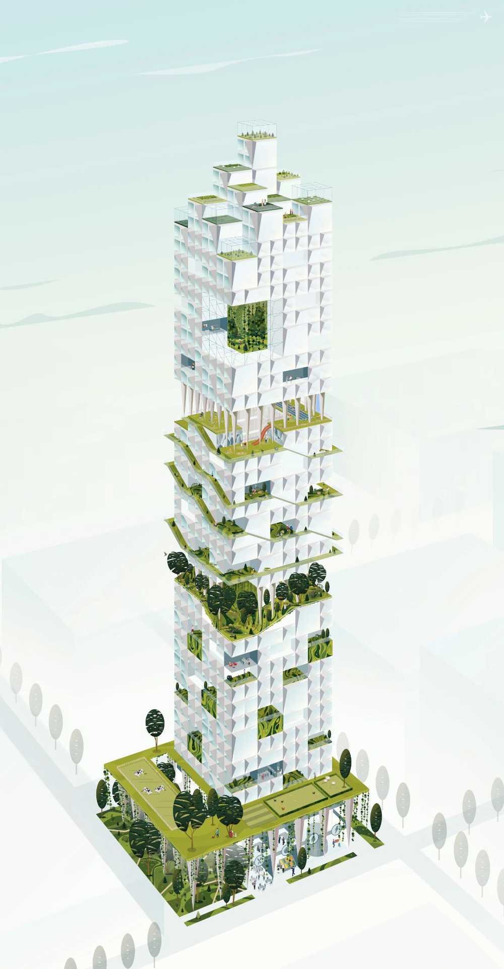 Nature inclusive high rise building in the city of The Hague