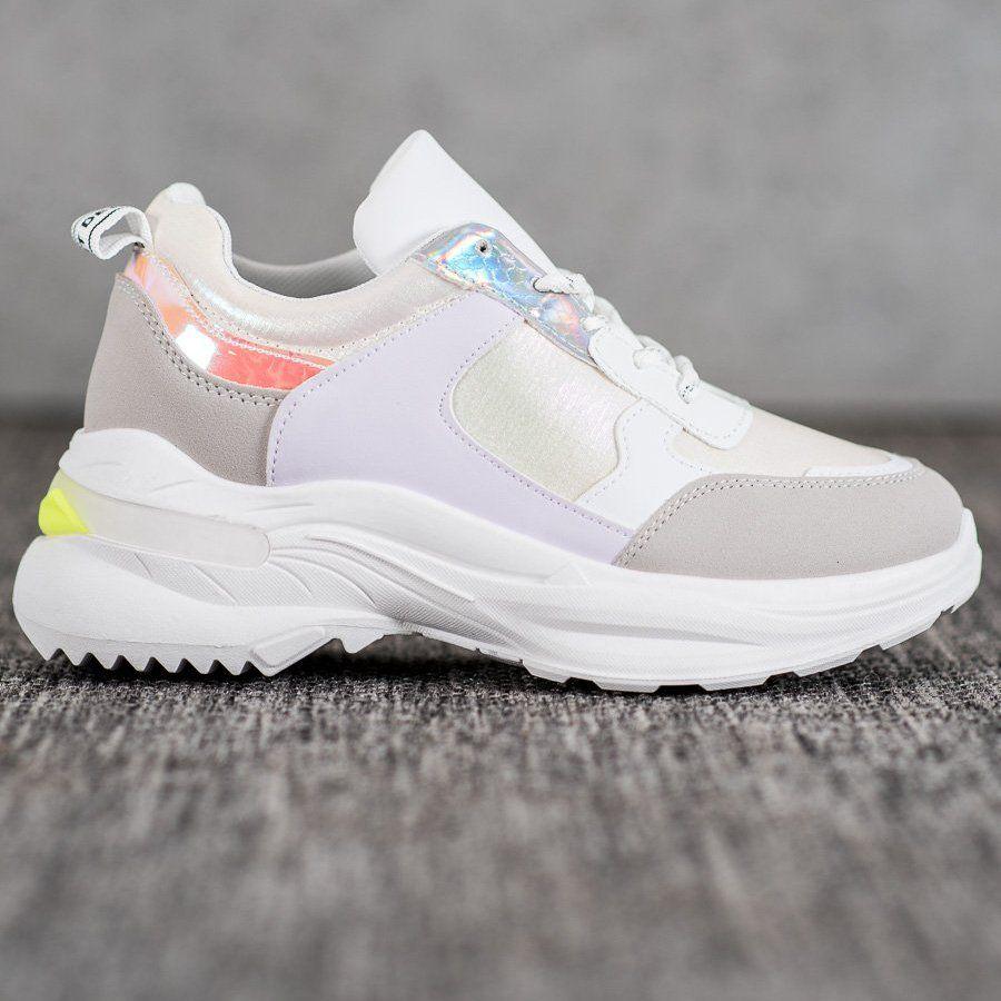 Shelovet Wygodne Sneakersy Na Platformie Biale Wielokolorowe Ayakkabilar