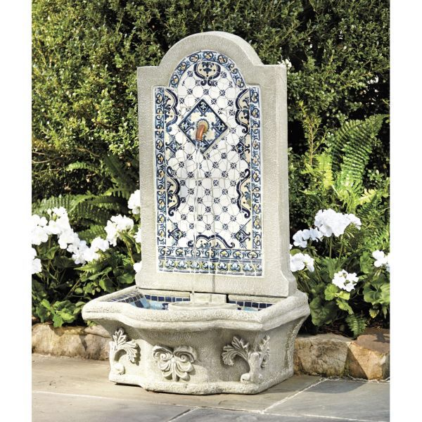 Mediterranean Exterior Of Home With Pathway Fountain: Water Fountain - Ballard Designs