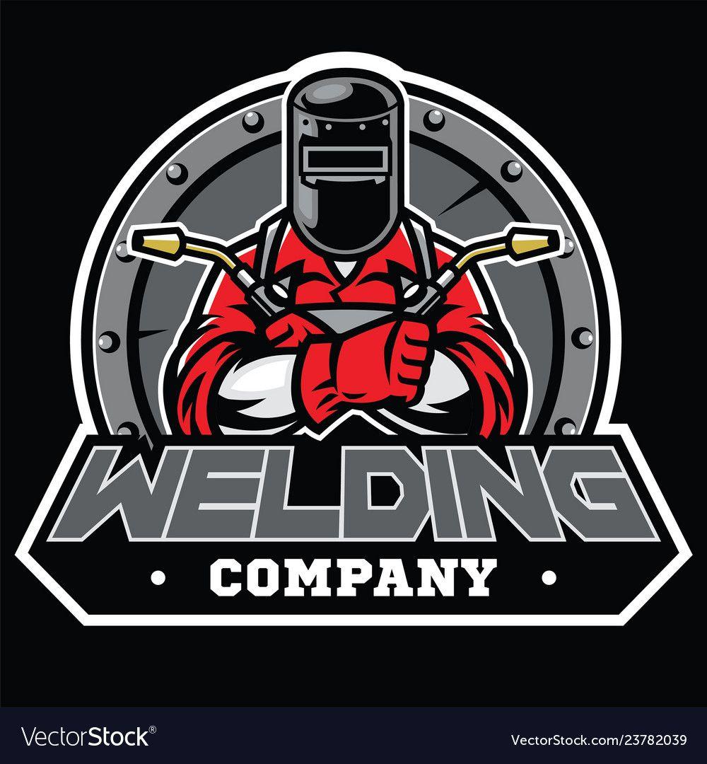 Welder wearing welding helmet pose in badge Vector Image ...