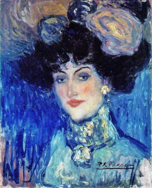 Picasso, Woman in a Plumed Hat 1901 Picasso portraits