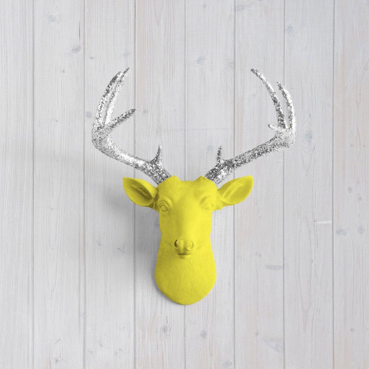 The MINI Virginia Yellow Faux Taxidermy Resin Deer Head Wall Mount ...