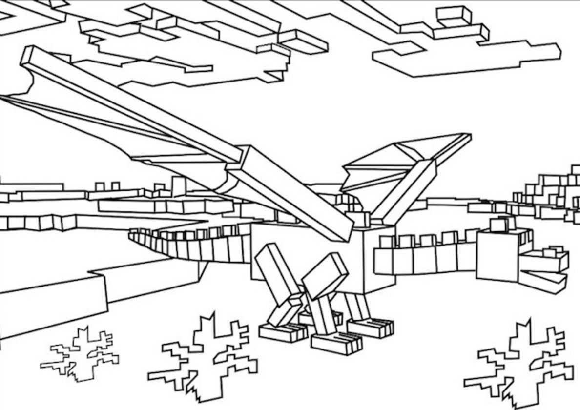 Ender Dragon Minecraft Coloring Pages Dragon Coloring Page