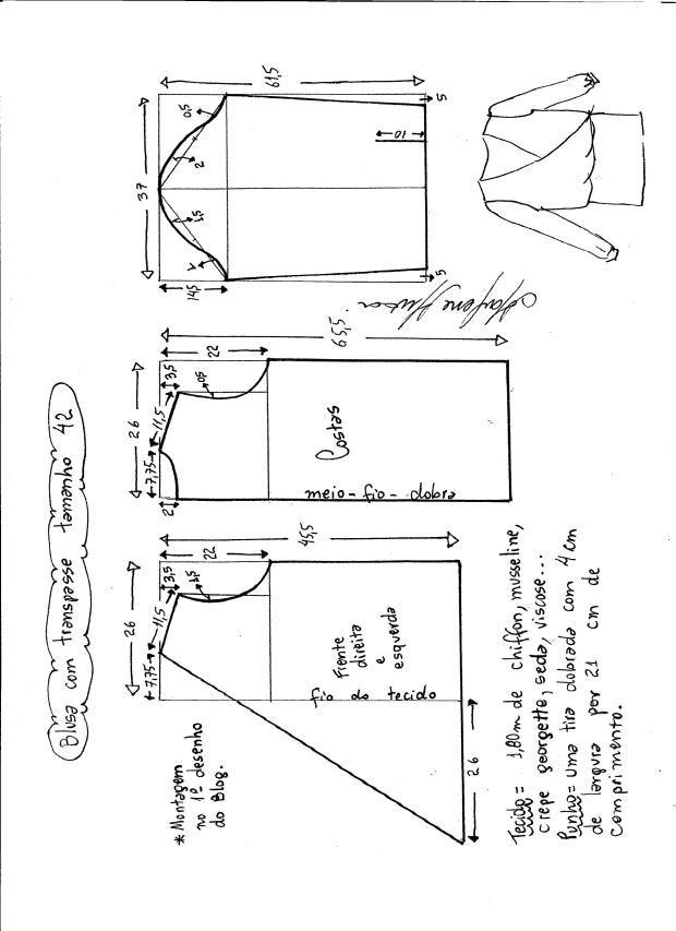 Patrón de blusa cruzada - Patrones gratis | Proyectos que intentar ...