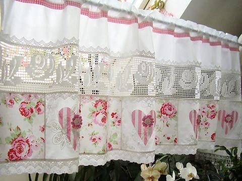 rosen landhausgardine shabby chic scheibengardine by. Black Bedroom Furniture Sets. Home Design Ideas