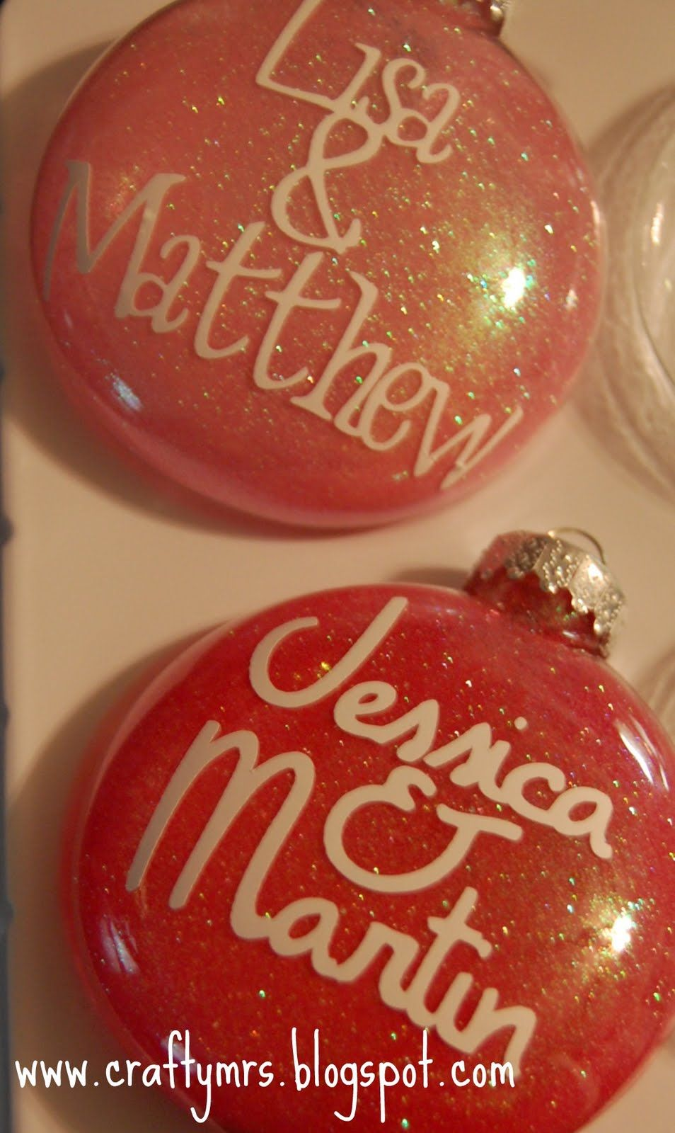Craftymrs engagement glitter ornaments with vinyl odds and ends