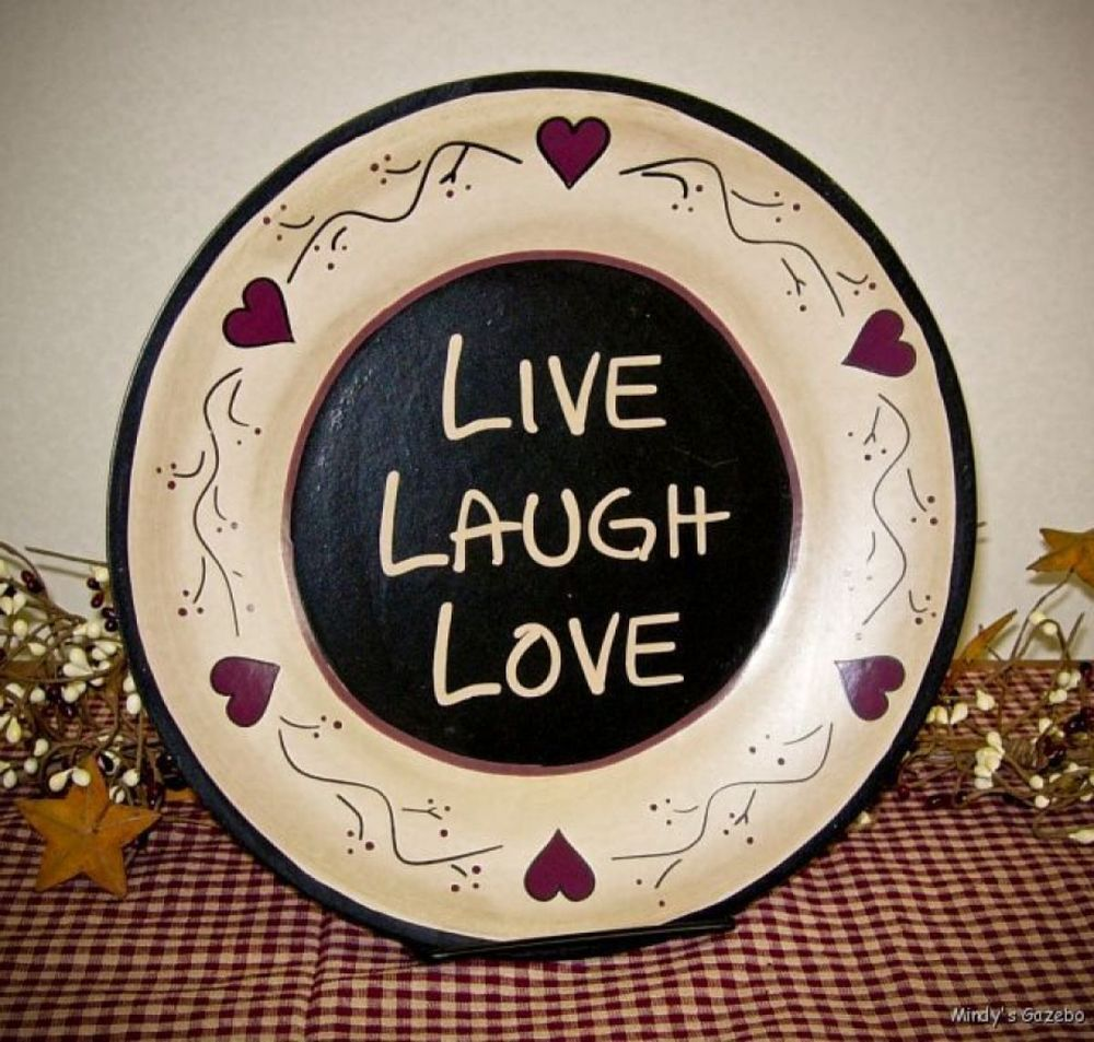 primitive wood plate live laugh love rustic country home decor
