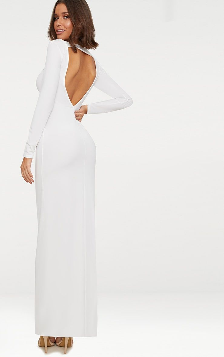 White backless strap detail long sleeve maxi dress shop the range
