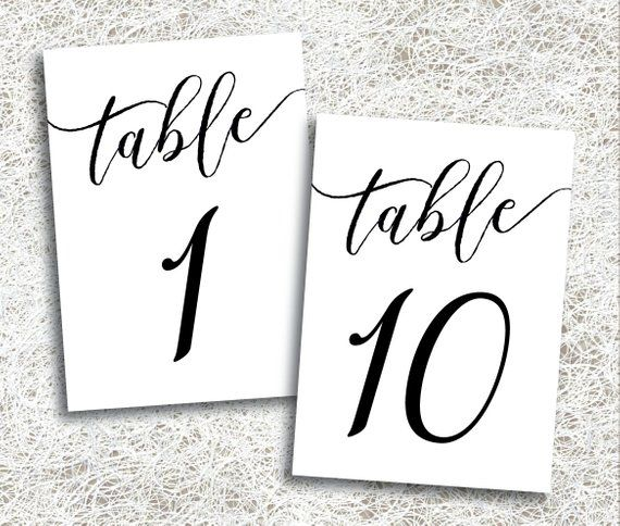 Brilliant Wedding Table Numbers 1 10 Printable Instant Download Download Free Architecture Designs Rallybritishbridgeorg