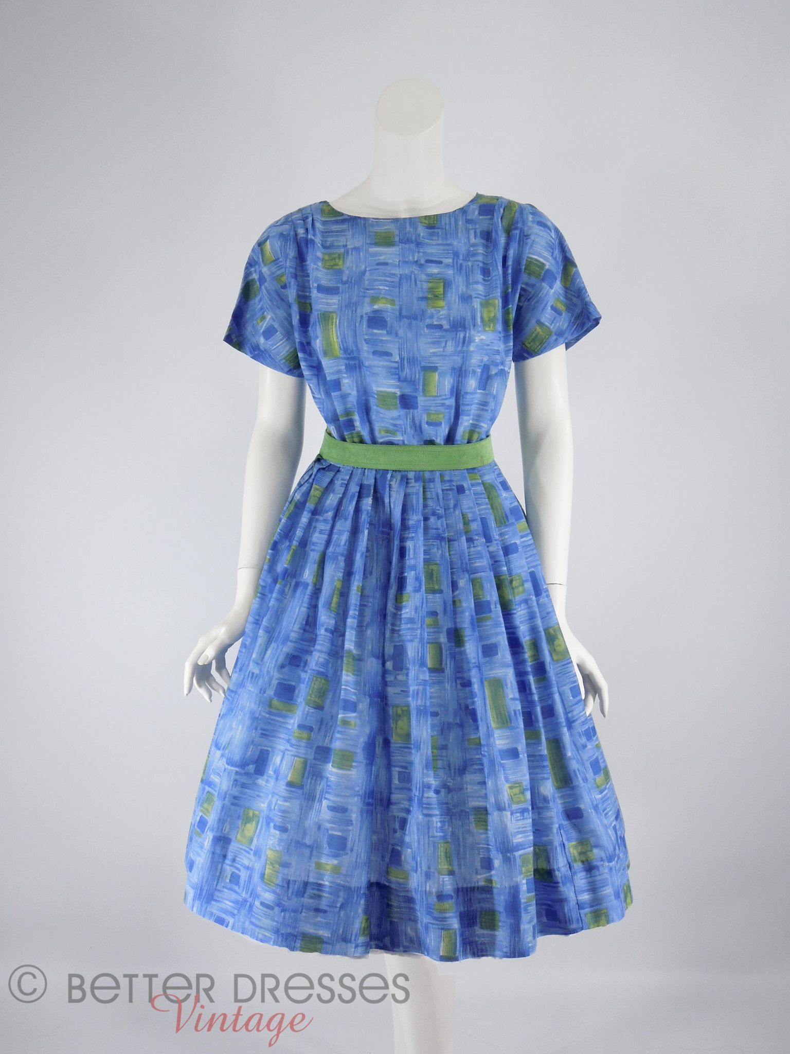 50s/60s Blue and Green Full Skirt Dress - sm