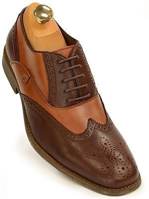 Steve Madden Mens Brown Tan Leather Two Tone Wing Tip Oxford Business Party  Shoe