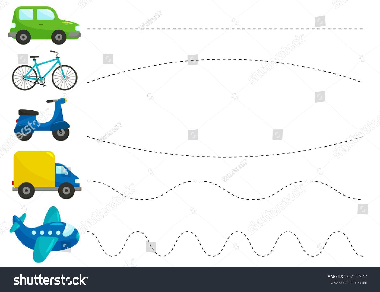 Trace Line Worksheet For Kids Practicing Fine Motor