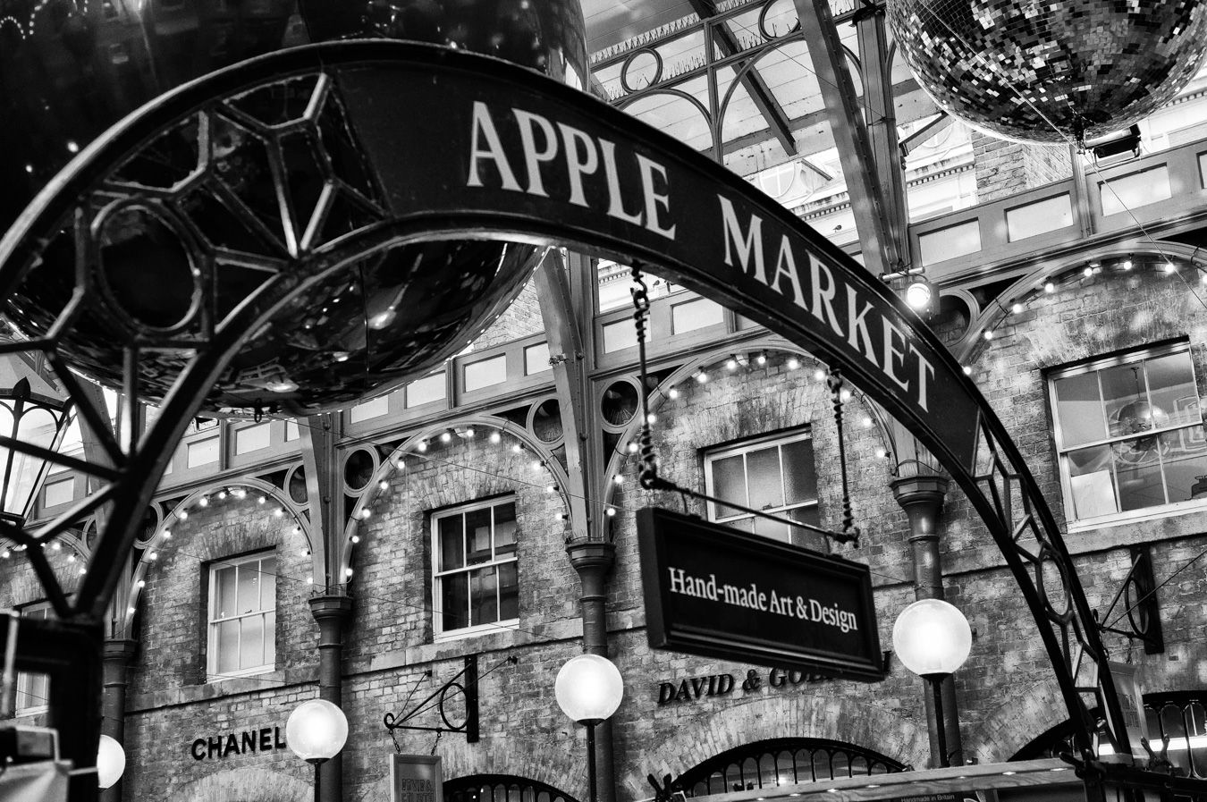 Sign at Covent Garden market's entrance, in London.