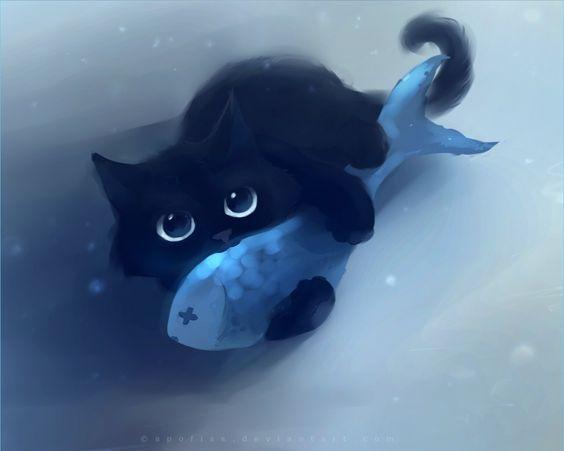 Black cat + Fish = My Cat