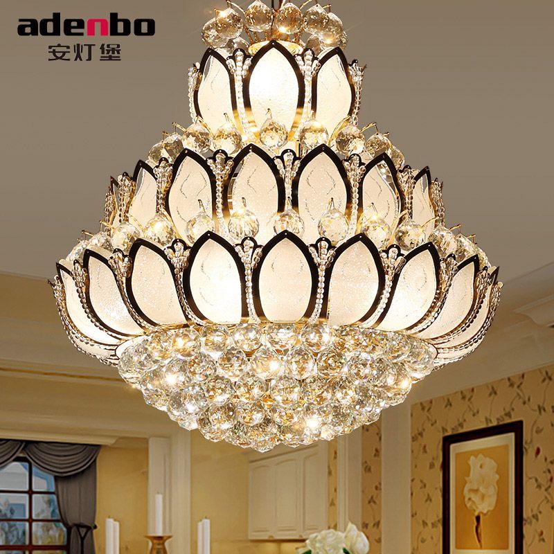 Big Luxury Lotus Flower Glass Gold Led Crystal Chandelier Lights For Living Room Deco Lighting Adb307 65 80