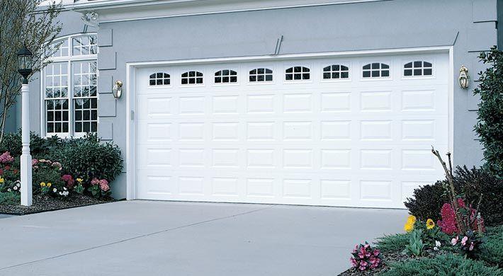 Traditional Short Panel With Cascade Windows In White Garage Doors Garage Door Design Door Repair