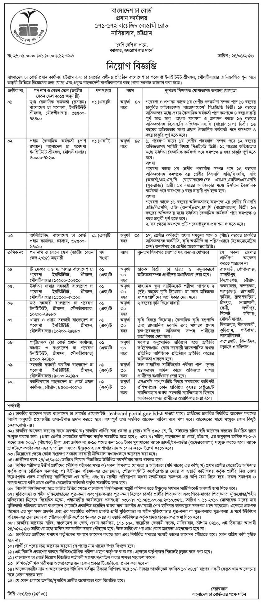 Bangladesh Tea Board Job Circular 2016 (With images) Job