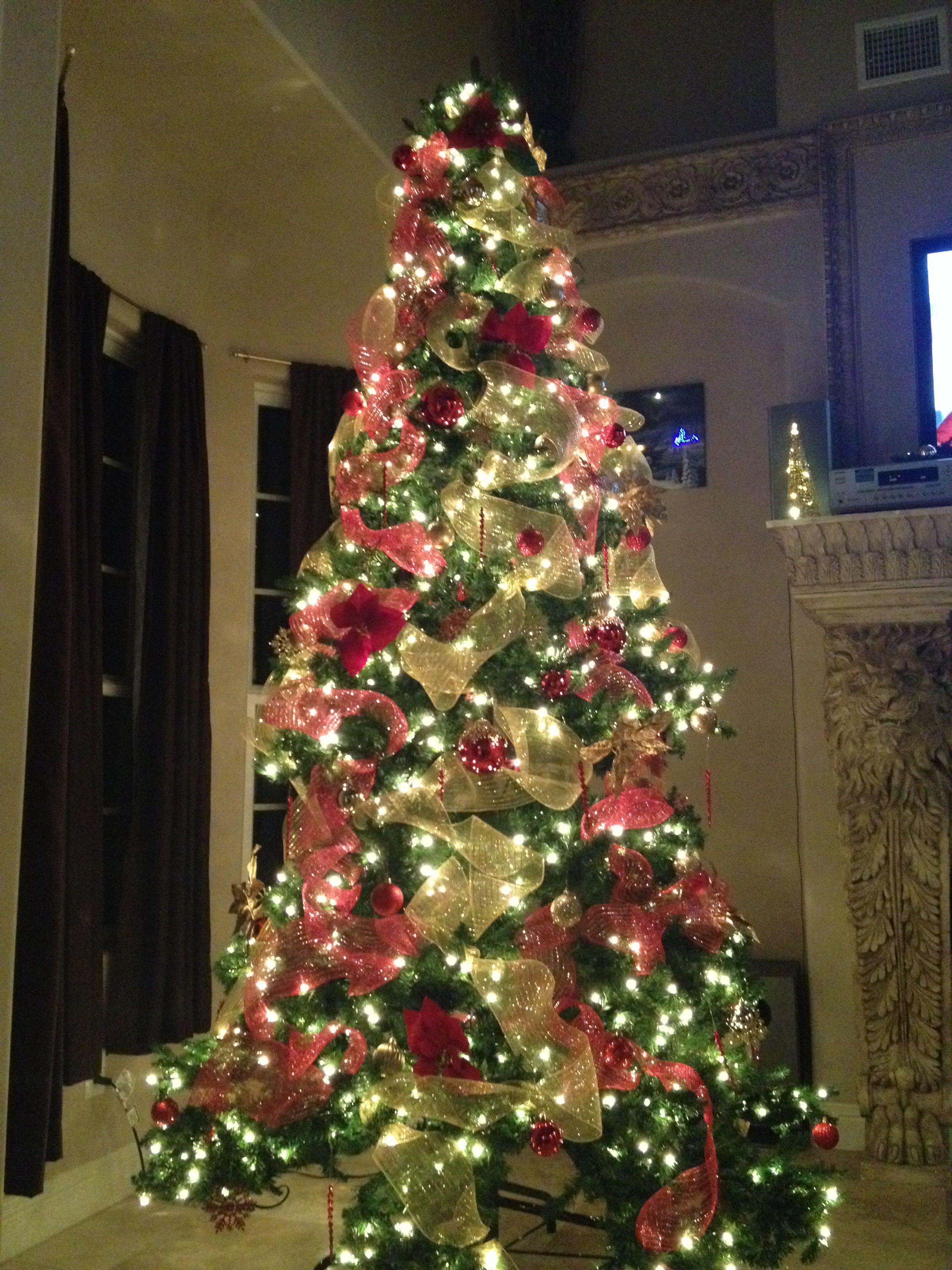 Christmas Tree 2013, featuring deco mesh ribbon, in red ...