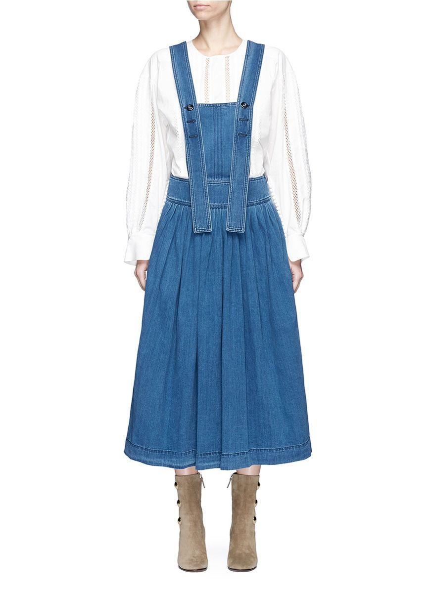 Chloe ruched denim pinafore dress dresses pinterest denim pinafore