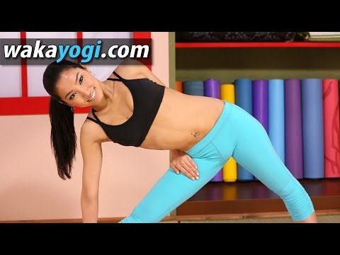 extended triangle pose with hand behind  yoga body secret