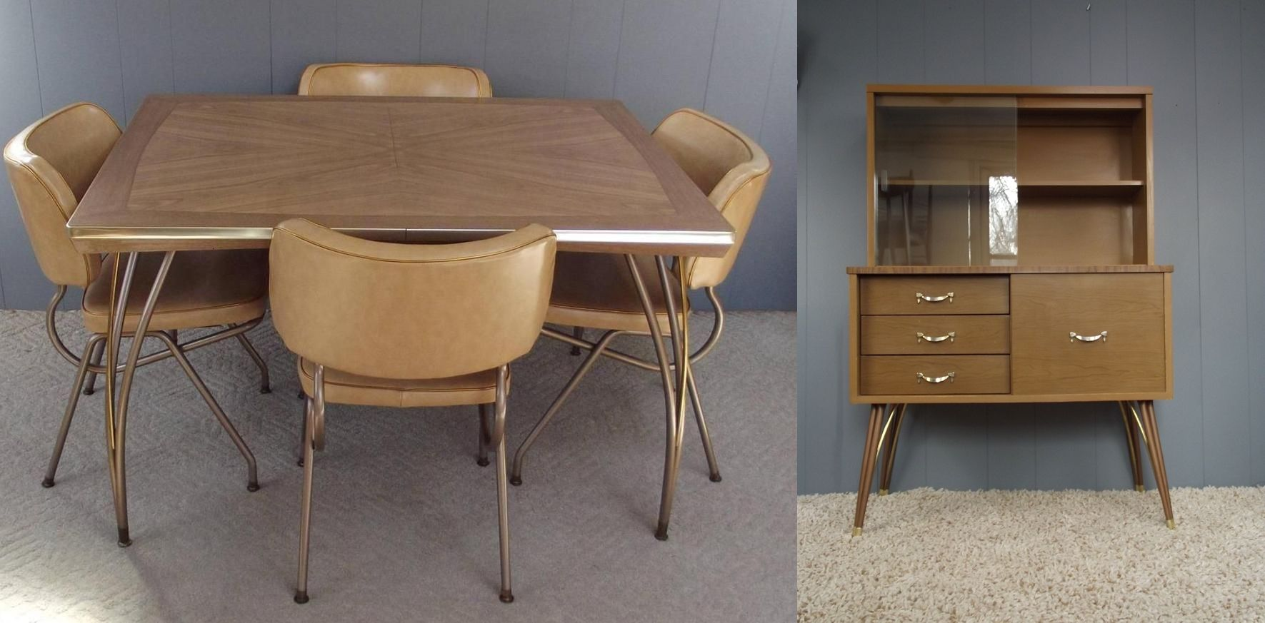 Retro Atomic Formica Dining Set W Matching Hutch China Cabinet