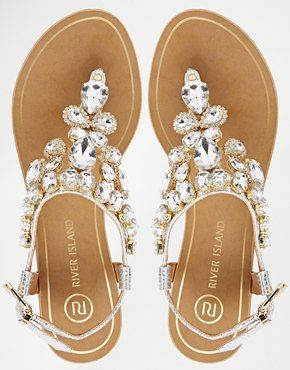 2a9bbbe7817776 Enlarge River Island Really Embellished Flat Sandals