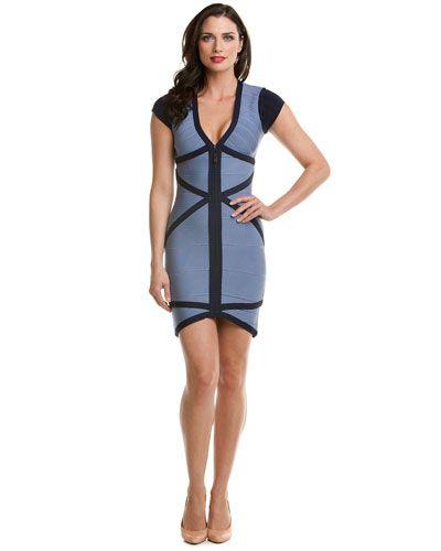 Stretta 'Collette' Dusty Blue & Navy Bandage Dress