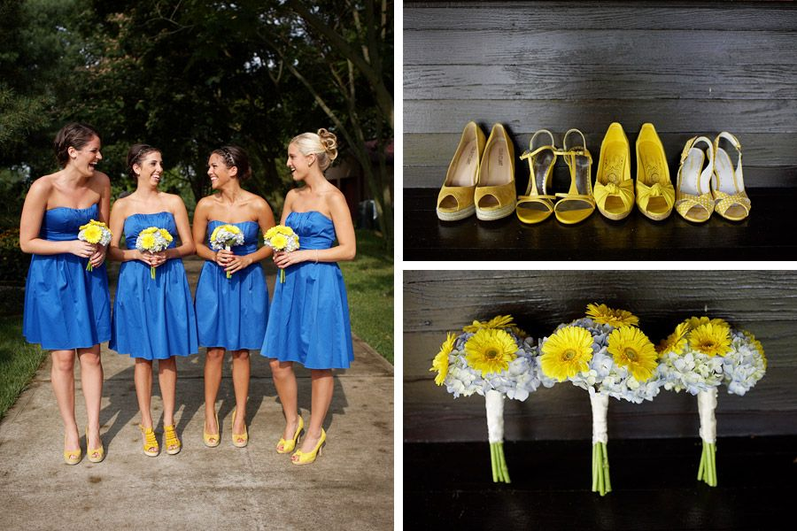 Blue and yellow dresses bridesmaid