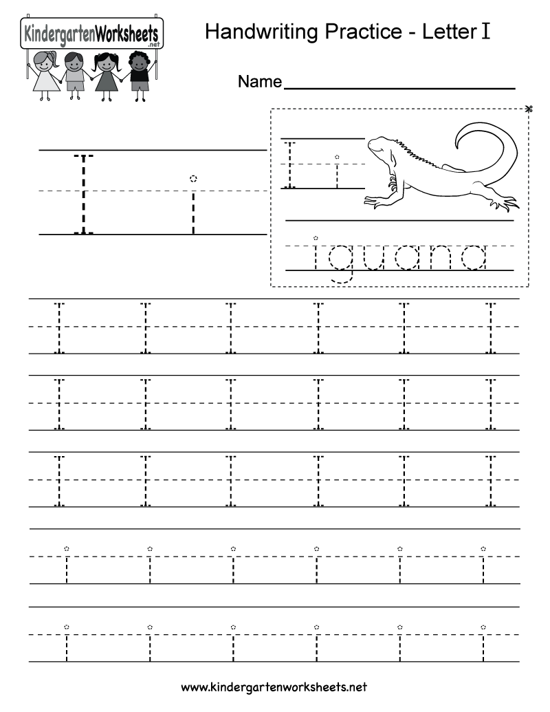 Worksheets Writing The Alphabet Worksheets letter i writing worksheet for kindergarten kids this series of handwriting alphabet worksheets can also be cut out to make an or