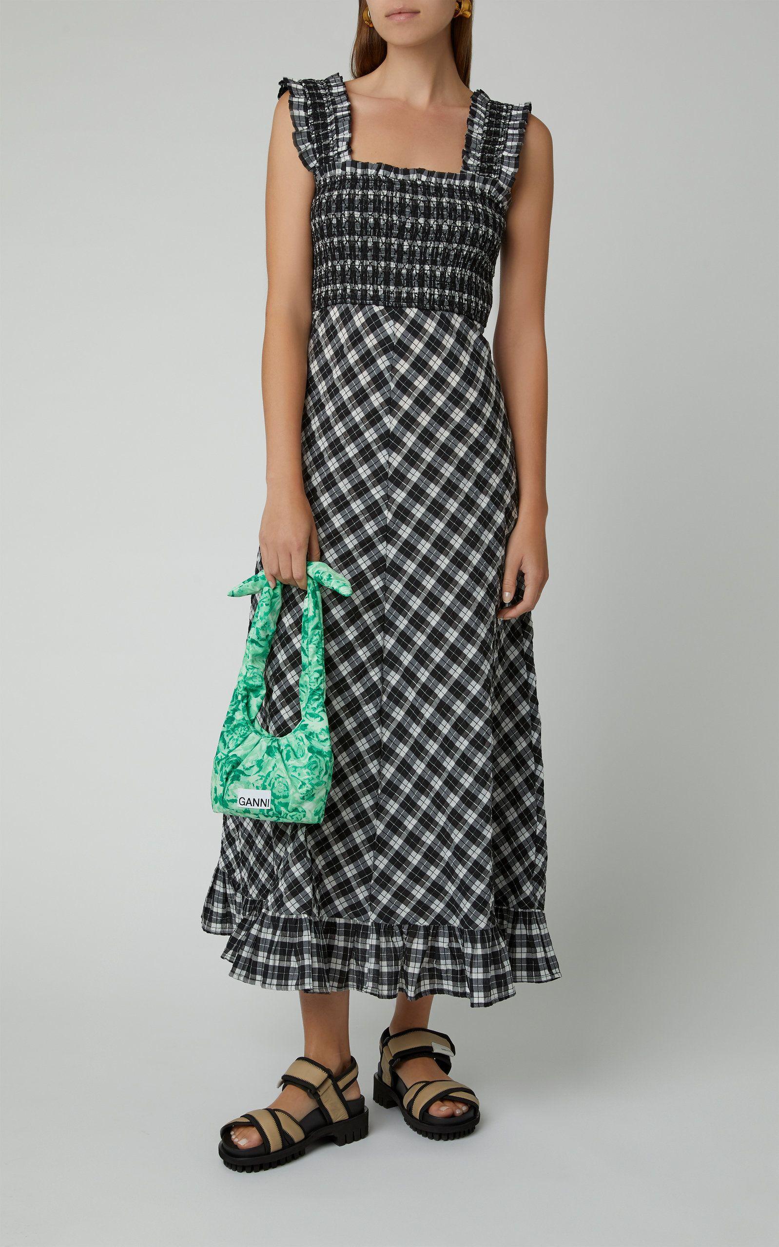 Ganni Smocked Seersucker Check Midi Dress Summer Dress Outfits
