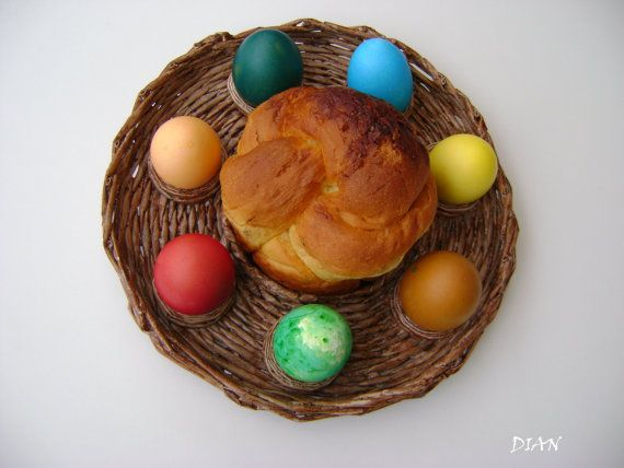 Easter tray from recycled paper by PDbgSHOP on Etsy, $42.00